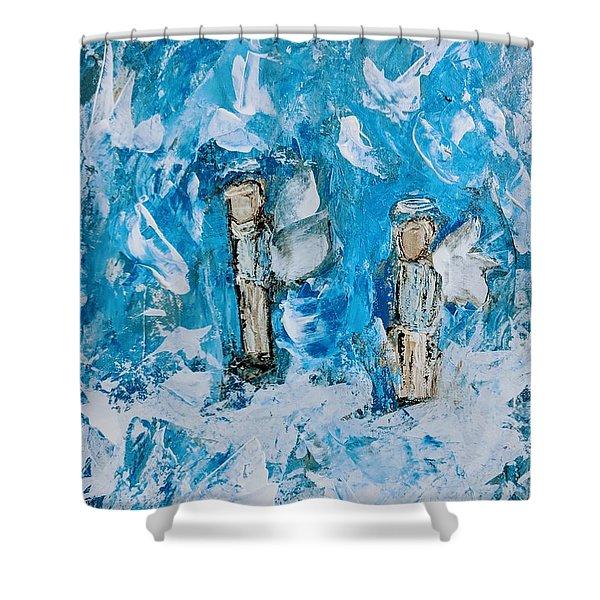 Twin Boy Angels Shower Curtain