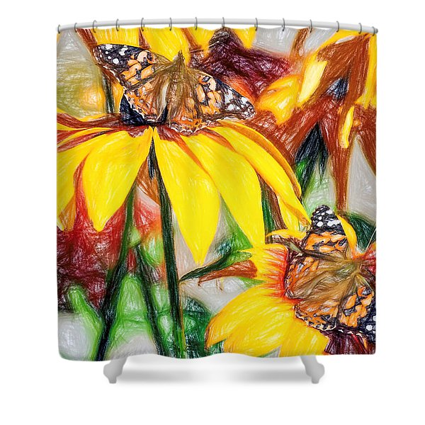 Twin Painted Lady Butterflies Pencil Shower Curtain