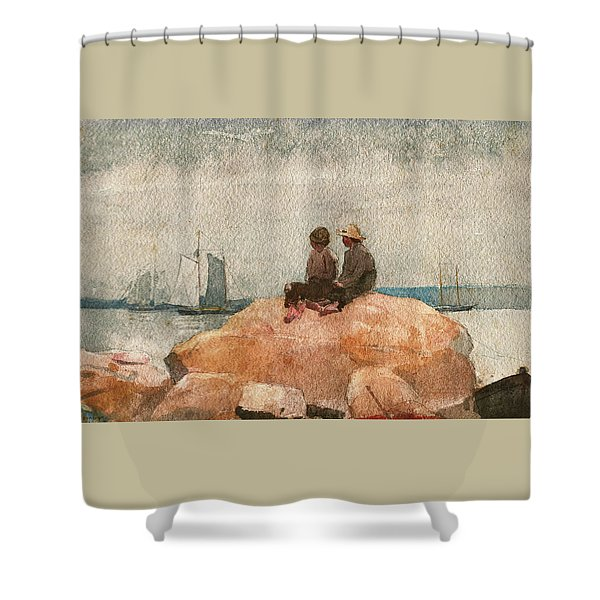 Two Boys Watching Schooners - Digital Remastered Edition Shower Curtain