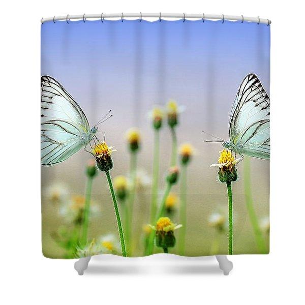 Two Butterflies Shower Curtain