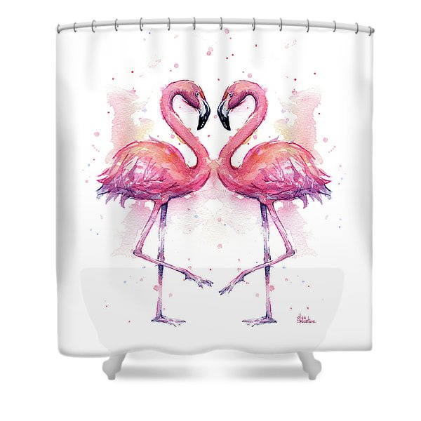 Two Flamingos In Love Watercolor Shower Curtain