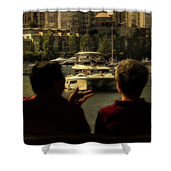 Two Friends At The Vancouver Bay Shower Curtain