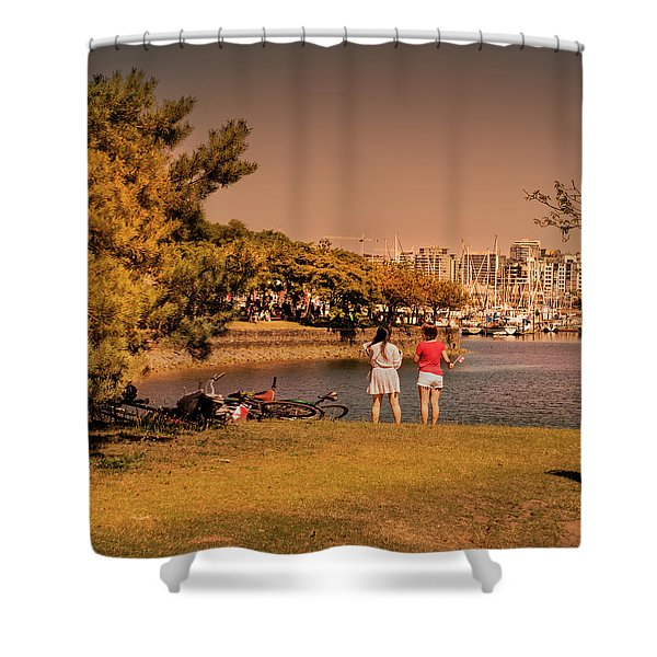 Shower Curtain featuring the photograph Two Girls by Juan Contreras