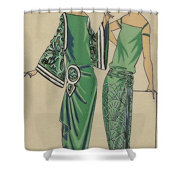 Two Green Dresses With Embroidery Designed By Alice Bernard, Print From Tres Parisien, 1923  Shower Curtain