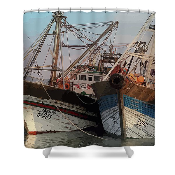 Two Old Fishing Boats At Rest Shower Curtain