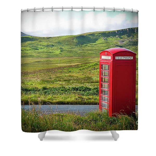 Typical Red English Telephone Box In A Rural Area Near A Road. Shower Curtain