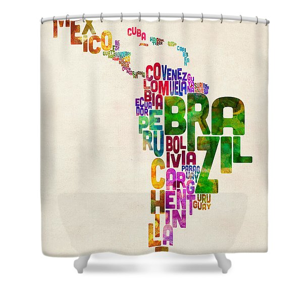 Typography Map Of Latin America, Mexico, Central And South America Shower Curtain