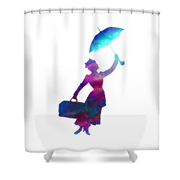 Shower Curtain featuring the digital art Umbrella Lady by David Millenheft