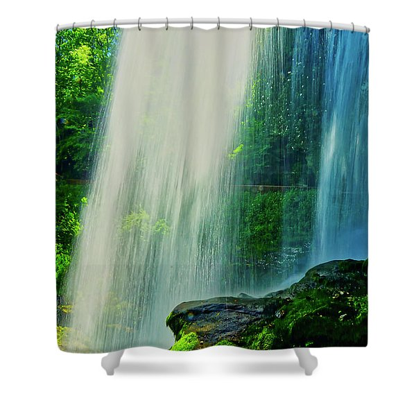 Shower Curtain featuring the photograph Under The Falls by Meta Gatschenberger