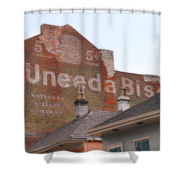 Uneeda Biscuits Ghost Sign Shower Curtain