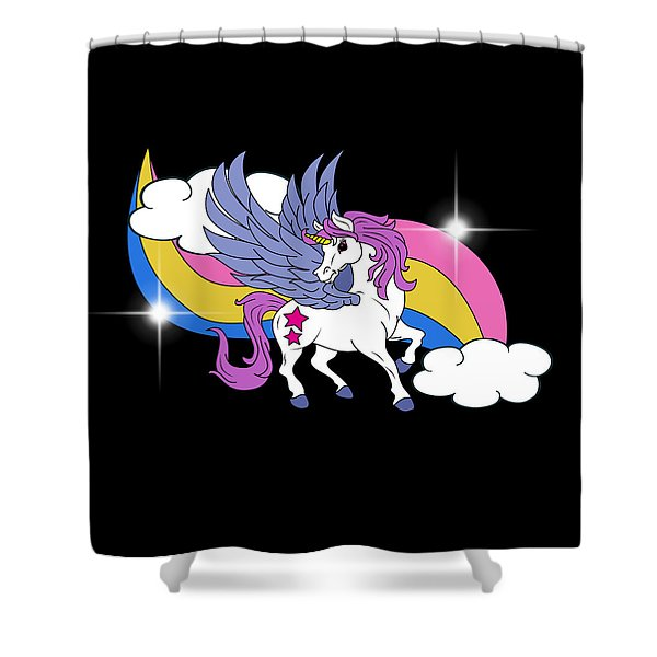 Unicorn With Wings Shower Curtain