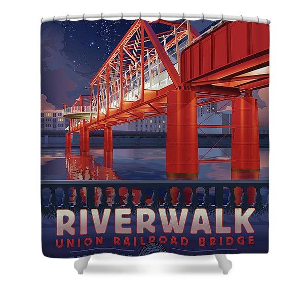 Union Railroad Bridge - Riverwalk Shower Curtain