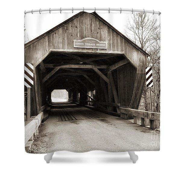 Union Village Covered Bridge Shower Curtain