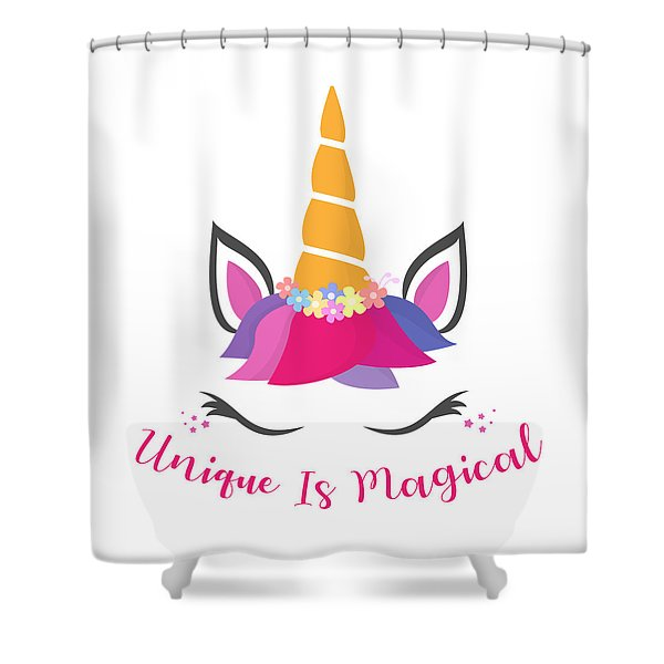 Unique Is Magical - Baby Room Nursery Art Poster Print Shower Curtain