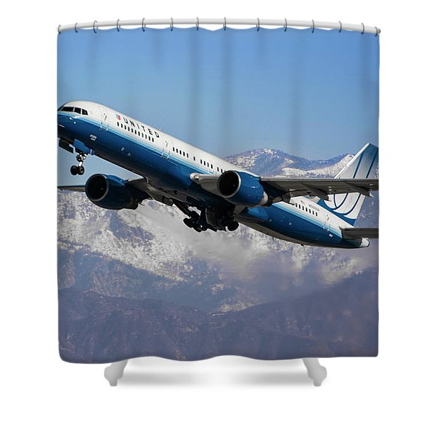 United Winter Takeoff At Los Angeles Shower Curtain