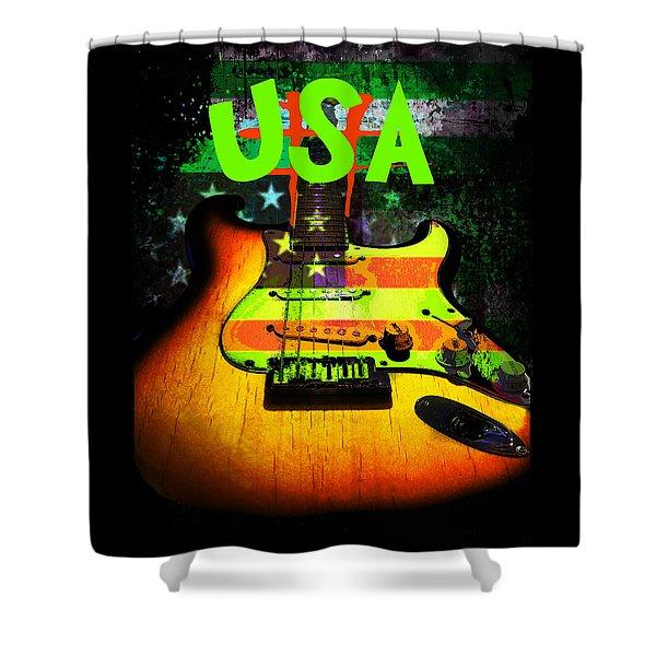 Usa Strat Guitar Music Green Theme Shower Curtain