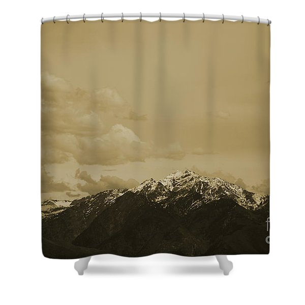Utah Mountain In Sepia Shower Curtain