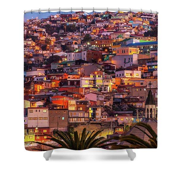 Valparaiso At Night Shower Curtain