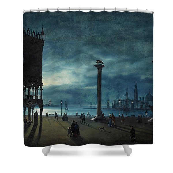 Venice, A Nocturnal View Of Piazza San Marco Shower Curtain