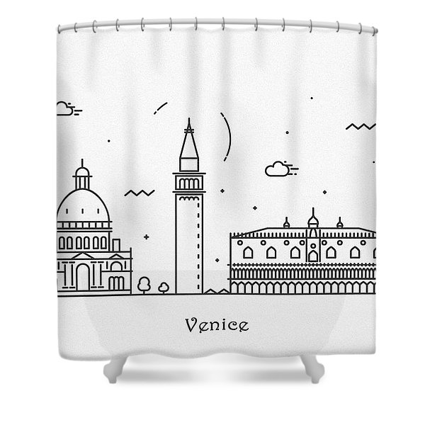 Venice Cityscape Travel Poster Shower Curtain