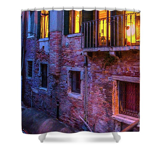 Venice Windows At Night Shower Curtain