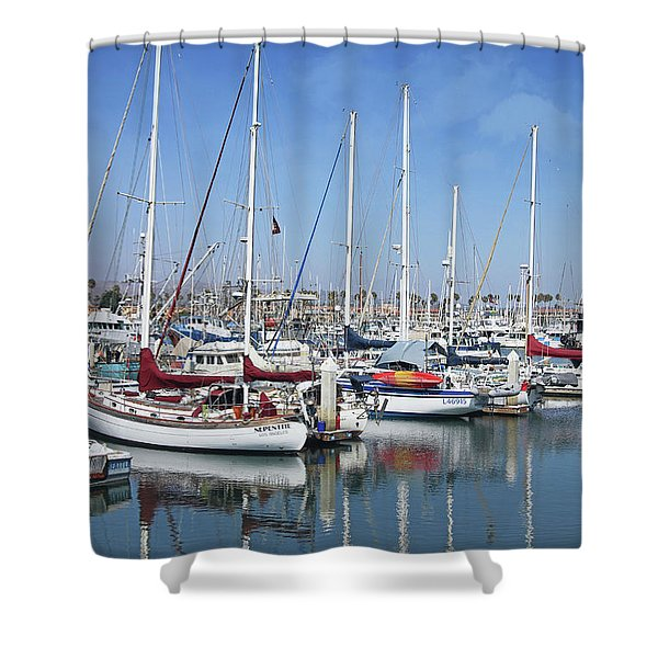 Ventura Harbor  By Linda Woods Shower Curtain
