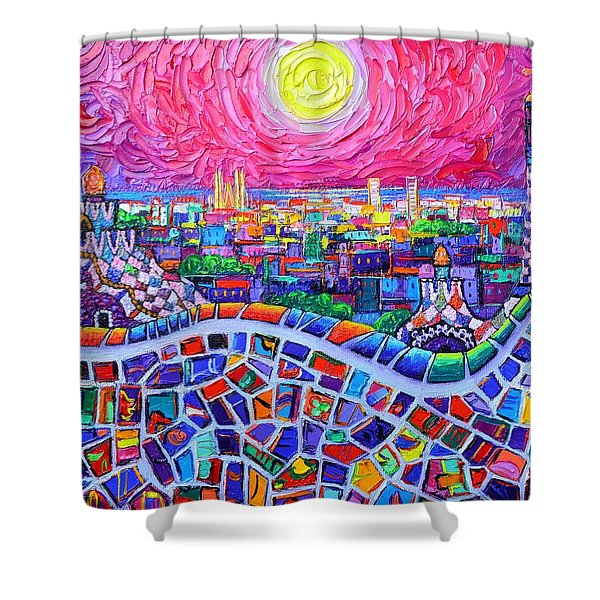 Vibrant Barcelona Night View From Park Guell Modern Impressionism Knife Painting Ana Maria Edulescu Shower Curtain