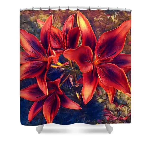 Vibrant Red Lilies Shower Curtain