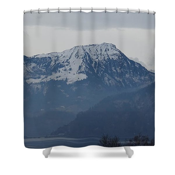 View From My Art Studio - Stanserhorn - March 2018 Shower Curtain
