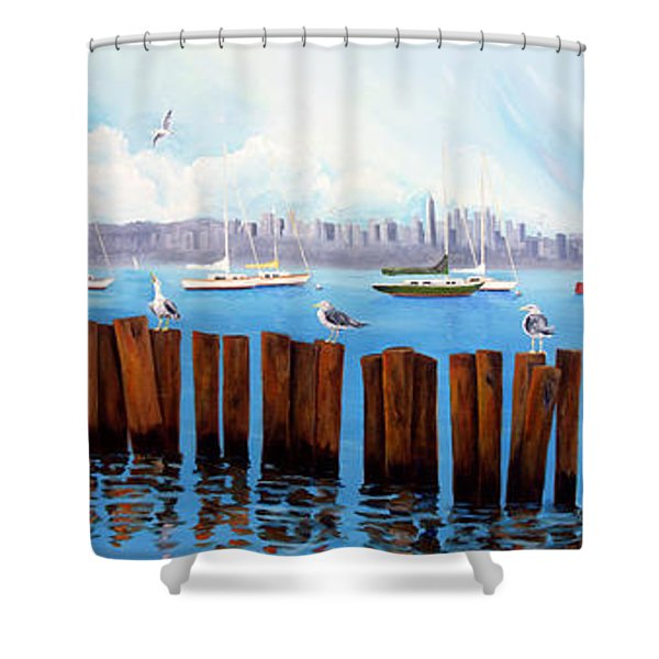 View From The Moshier's Tiki Bar Shower Curtain