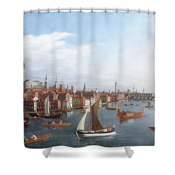 View Of The River Thames With St Paul's And Old London Bridge Shower Curtain