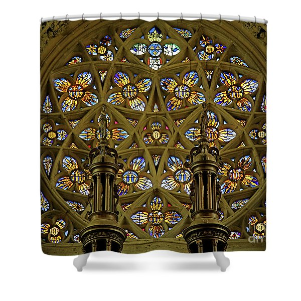 View Of The Rose Window With Suns And Monograms Of Christ And The Virgin, Eglise Notre Dame, Caudebec-en-caux, France Shower Curtain