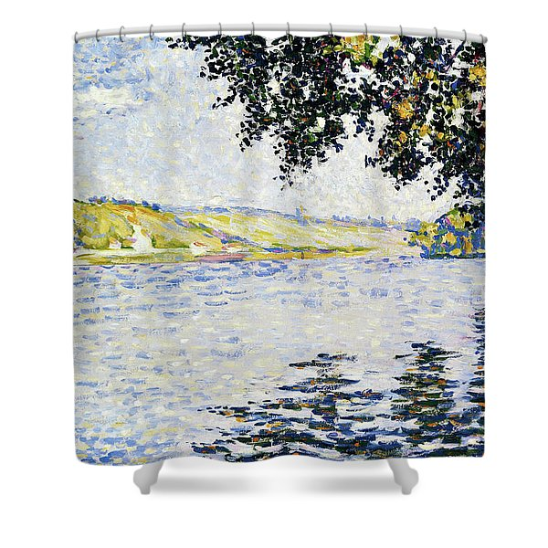 View Of The Seine At Herblay - Digital Remastered Edition Shower Curtain