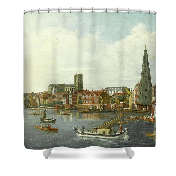 View Of The Thames At Westminster Shower Curtain