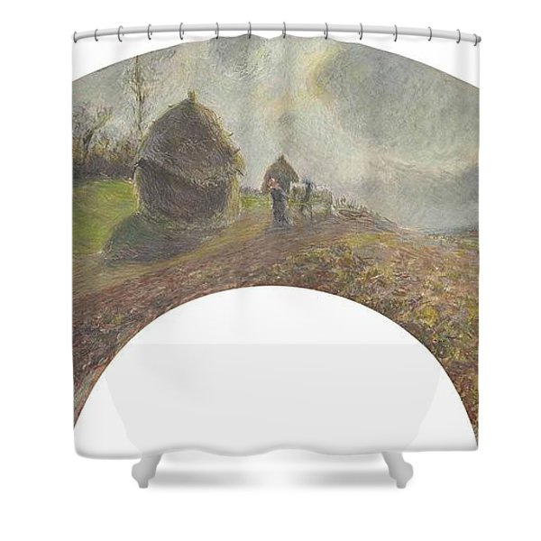 View On The Fields Ploughing And Sowing, 1879 Shower Curtain