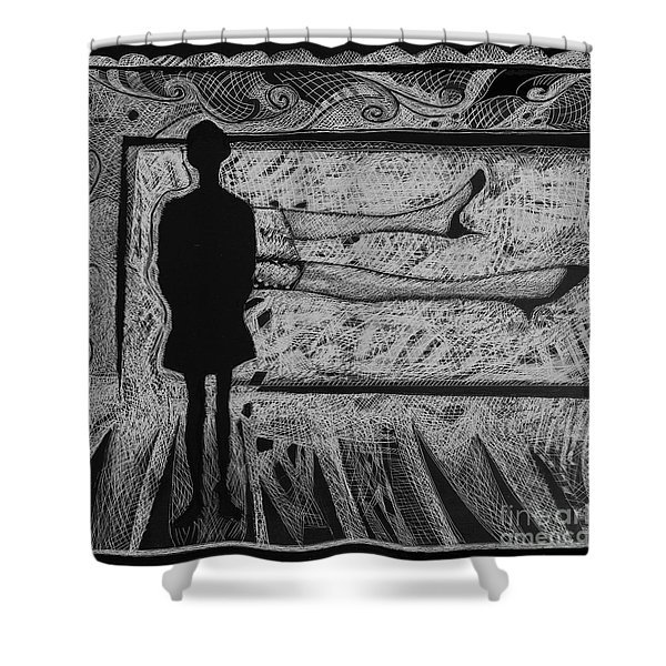Viewing Supine Woman. Shower Curtain