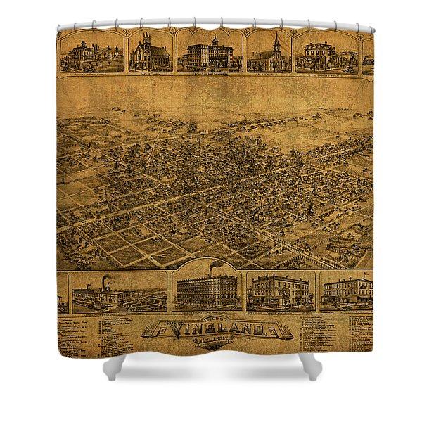 Vineland New Jersey Vintage City Street Map 1885 Shower Curtain