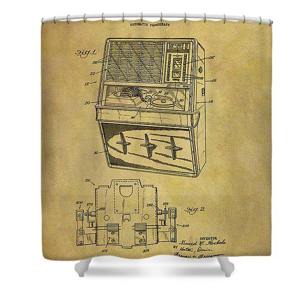 Vintage 1965 Jukebox Patent Shower Curtain