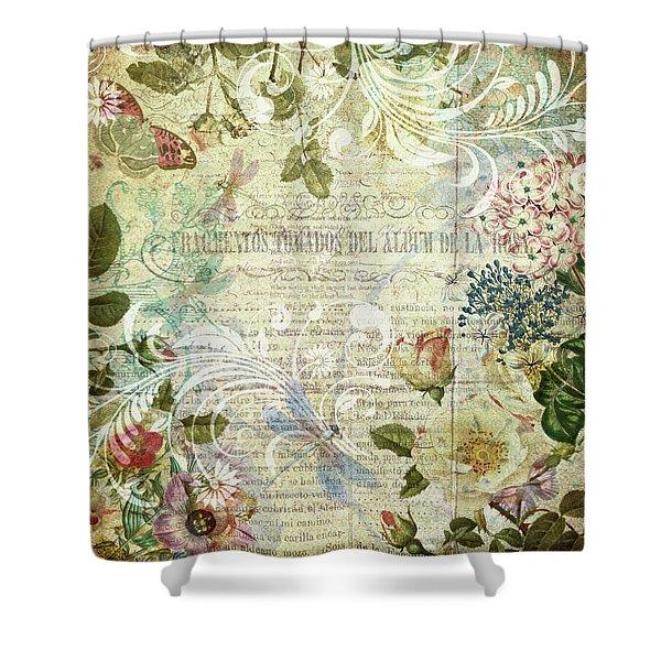 Vintage Botanical Illustration Collage Shower Curtain