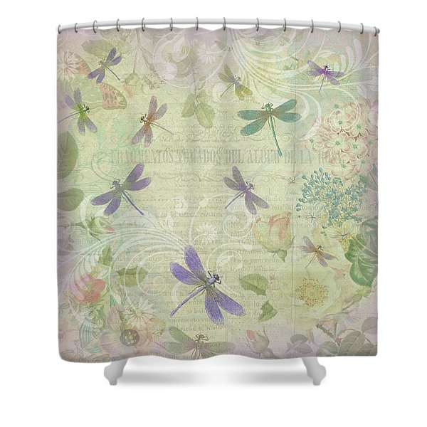 Vintage Botanical Illustrations And Dragonflies Shower Curtain