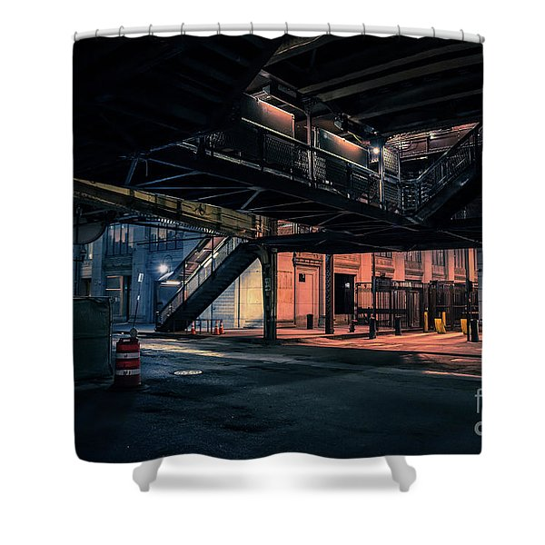 Vintage Chicago L Station At Night Shower Curtain