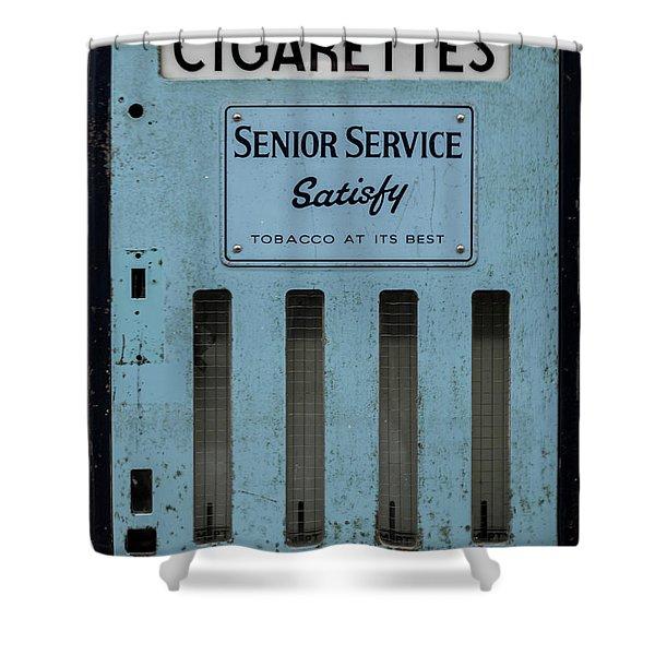 Shower Curtain featuring the photograph Senior Service Vintage Cigarette Vending Machine by Scott Lyons