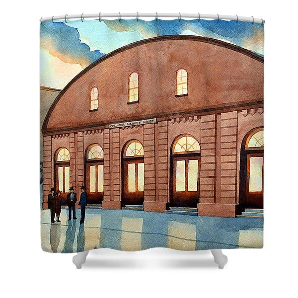 Vintage Color Columbia Market House Shower Curtain