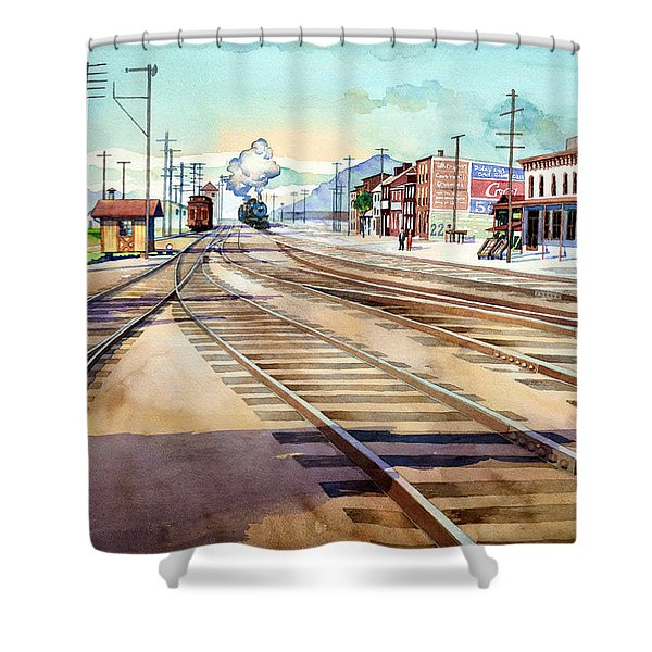 Vintage Color Columbia Rail Yards Shower Curtain