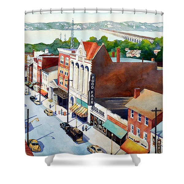 Vintage Color, Columbia Rooftops Shower Curtain