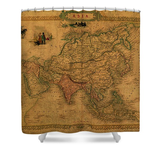 Vintage Map Of Asia Shower Curtain