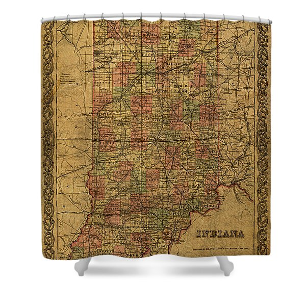 Vintage Map Of Indiana 1855 Shower Curtain