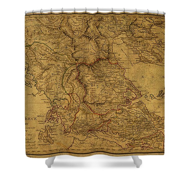 Vintage Map Of Northern Greece Shower Curtain