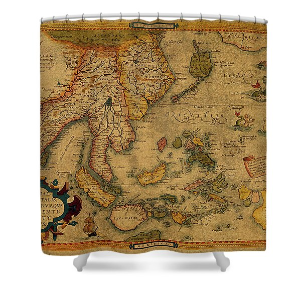 Vintage Map Of Southeast Asia 1619 Shower Curtain