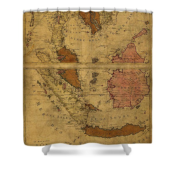 Vintage Map Of Southeast Asia Siam And Sumatra 1710 Shower Curtain